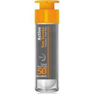 Frezyderm Active Sun Screen Innovative Tinted Face Fluid SPF50 Αντηλιακή Κρέμα Προσώπου Με Χρώμα Ελαφριάς υφής που προσφέρει Ενυδάτωση και Αντιγήρανση 50ml